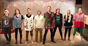 Family Of 8 In Christmas Sweaters Perform Dance