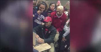 Classmates Cheer For Senior's College Acceptance