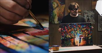 Blind Artist Uses Music to Inspire Painting