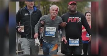 Marathon Runners Act As Angels To Help An Injured Senior Runner To The Finish