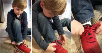 5 Year-Old's Shoe Tying Trick Is Beyond Genius