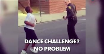 Dance Off For Police Officer And Young Teen