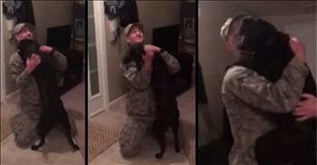 Pilot Comes Home From A 6 Month Deployment To The Warmest Doggie Welcome