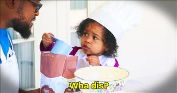Dad Hilariously Tries To Bake A Cake With Toddler