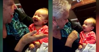 Sweet Deaf Baby Coos As Her Grandmother Signs Her Love