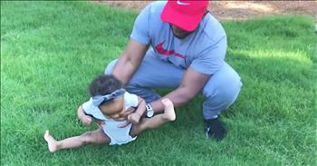 Hilarious Baby Does Not Like The Grass