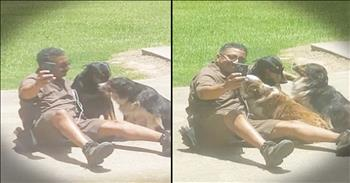 UPS Delivery Driver Takes Selfies With Dogs