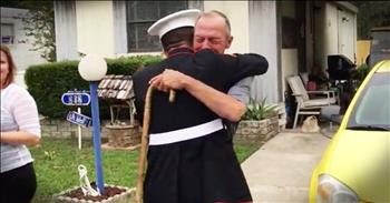 Marine Surprises Grandfather On His Birthday