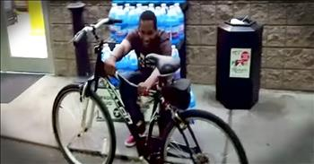 Gas Station Attendant Receives New Bike