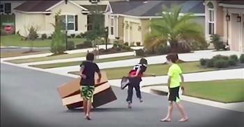 3 Boys Hilariously Try To Move A Cardboard Box
