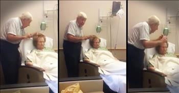 Husband Brushes Sick Wife's Hair In Hospital