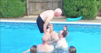 79-Year-Old Grandpa Does Backflip In Pool