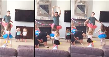 Dad In Tutu Teaches Little Girls To Dance