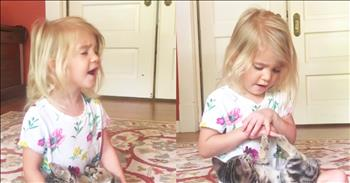 Toddler Sings 'Somewhere Over The Rainbow' To Kitty