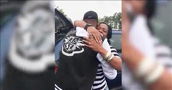 Sailor Surprises Mom In Trunk Of Car
