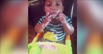 Baby Makes A Mess With Yogurt Snack