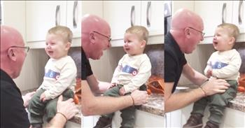 Funny Grandpa Loves Making Grandson Laugh