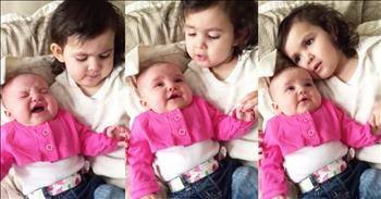 Big Sister Sings 'You Are My Sunshine' To Baby'