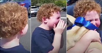 Boy Cries Getting Dog For Birthday