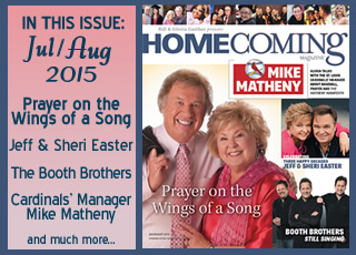 Bill Gaither and Gloria Gaither in the current Homecoming Magazine