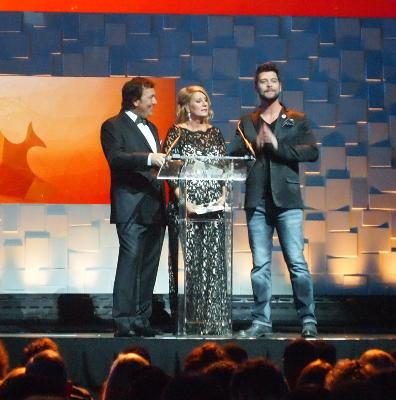 Jason Crabb, with Al & Lisa Robertson, present the winner of Inspirational Film of the Year