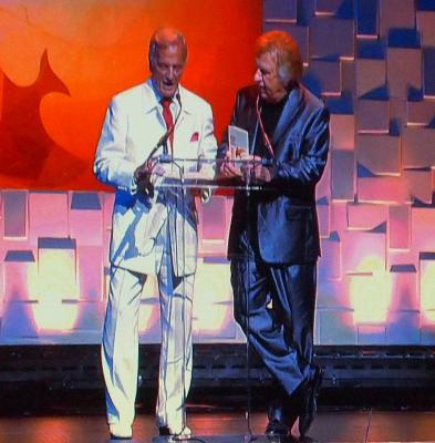 Pat Boone and Bill Gaither present the award for Praise & Worship Album of the Year to Kari Jobe