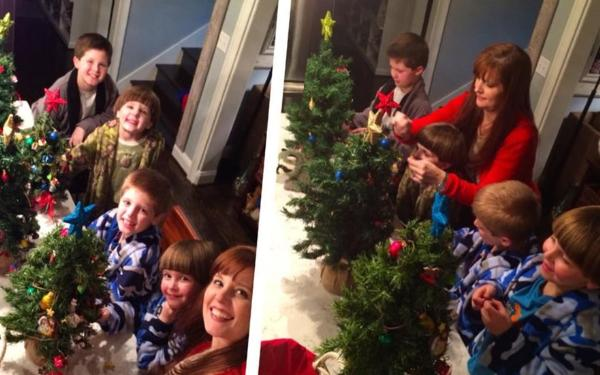 Wes Hampton's wife Andrea and their four boys having a blast decorating mini-trees
