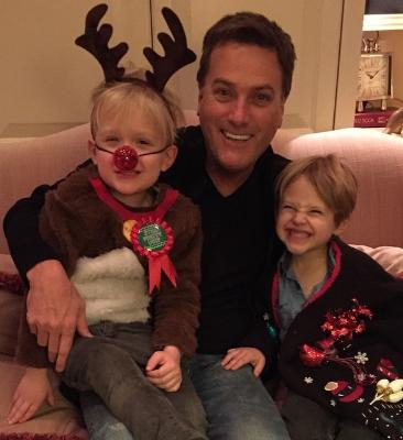 Michael W. Smith with grandkids Smith and Elam, at the family's annual Christmas decorating party