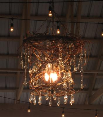 A rustic chandelier, fit for a barn!