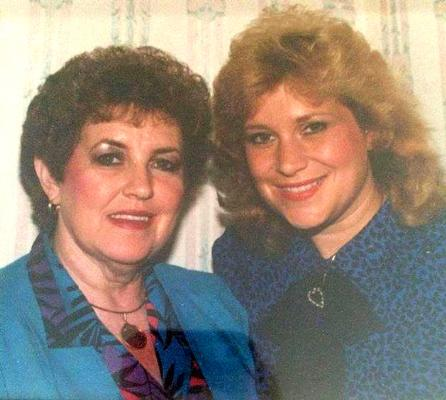 Sandi Patty smiles with her mother, Carolyn