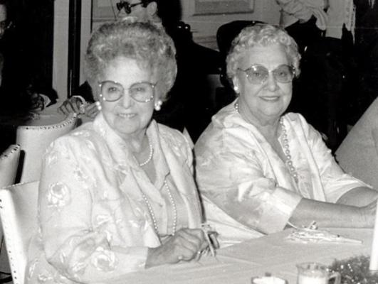 Gloria's mom, Dorothy Sickal, with Bill's mom, Lela Gaither